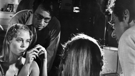 "Bogdanovich directing his star - and lover - on set for ""The Last Picture Show"""