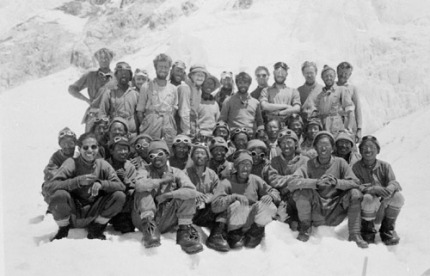 The successful 1953 expedition -- my father, tanned and dark haired with beard, is in the middle of the front standing row.