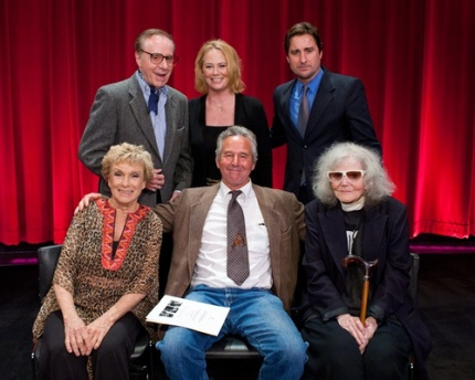 At the Academy  (clockwise top l. to r.: Bogdanovich, Shepherd, moderator Luke Wilson, Eileen Brennan, Timothy Bottoms, Cloris Leachman)