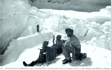 "Dad (r.) ""relaxing"" in the icefall"