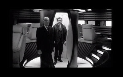 """2001"" co-author Arthur C. Clarke with Kubrick on set"