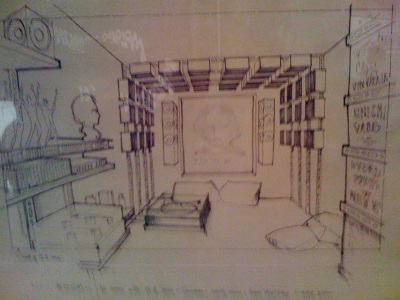 Design sketch for Alex's room