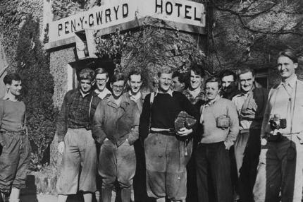 An Everest reunion at Pen-y-cwm in Snowdonia: my father stands to the left of the group.