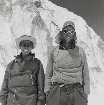 Tenzing Norgay and Ed Hillary after summiting Everest.