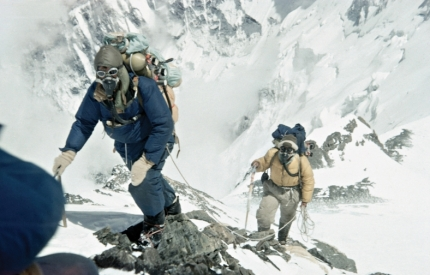 Hilary and Tenzing en route to the summit of Everest.