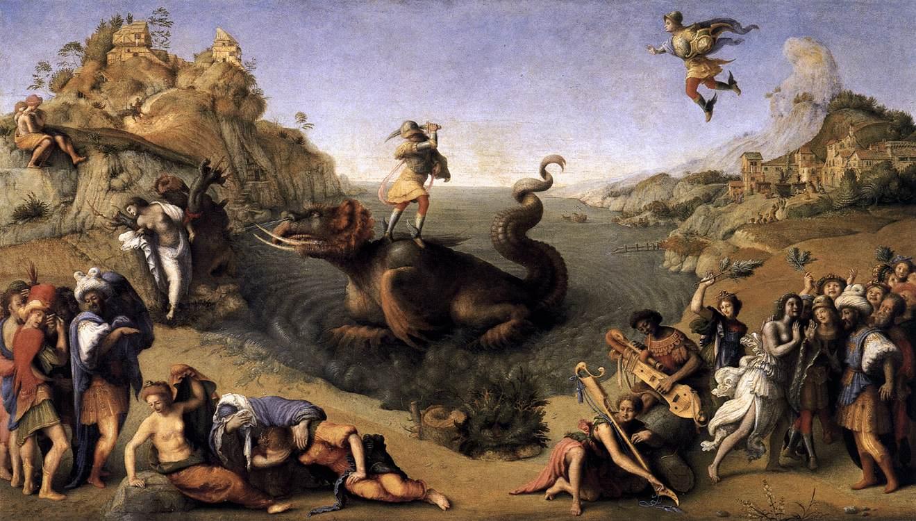 Piero di Cosimo's version of the same scene, with Perseus rescuing Andromeda