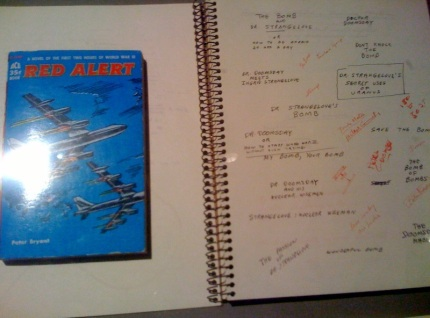"Copy of source material for ""Dr. Strangelove"", with Kubrick's notes for possible film titles"
