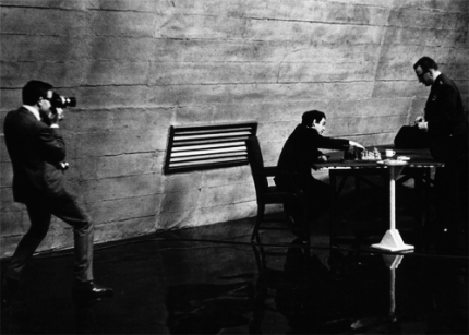 "Peter Sellers filming Kubrick playing chess with George C. Scott on set of ""Dr. Strangelove"""