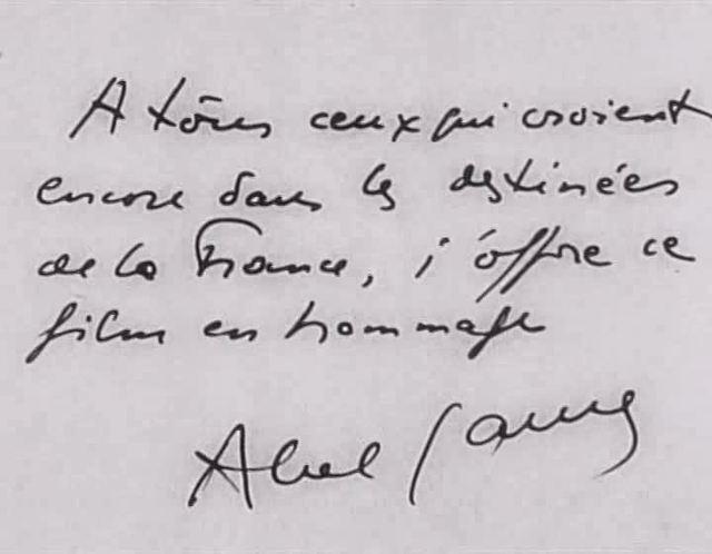 Gance's inscription