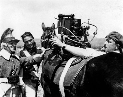Camera mounted on a horse to film the Corsican chase sequence