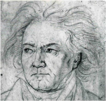 Portrait of Beethoven by Kloeber (1818)