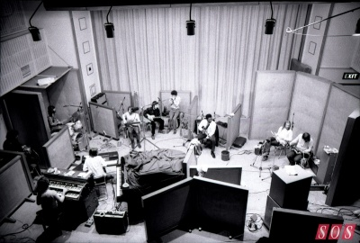 B.B King recording at Olympic in 1971, with Ringo Starr (far left) plus bassist Klaus Voormann, Fleetwood Mac's Peter Green on guitar and Steve Marriott on harmonica (all centre left).