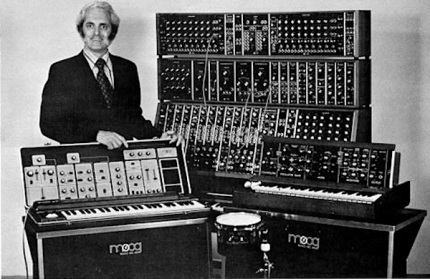 Robert Moog pictured with his invention