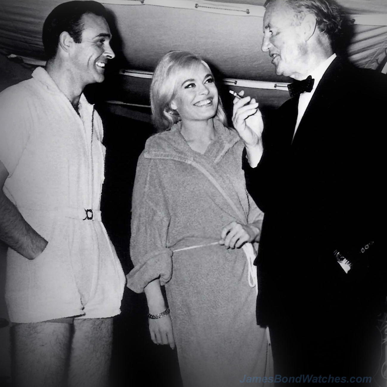 Connery, Shirley Eaton, Fleming on set of Goldfinger