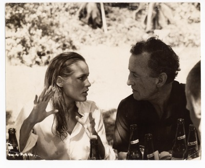 Ursula Andress and Ian Fleming on location for Dr. No