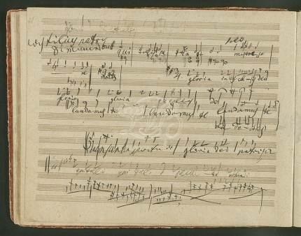 One of Beethoven's sketchbooks, containing material for the Missa Solemnis. This was once owned by Mendelssohn.
