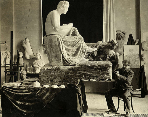 Max Klinger working on his sculpture of Beethoven
