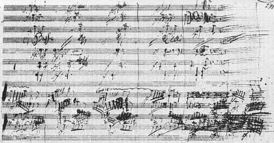 The Agnus Dei from the autograph score to the Mass in C
