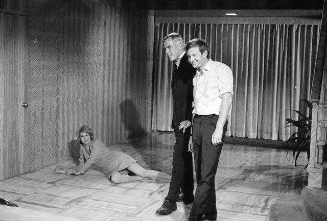 Angie Dickinson, Lee Marvin and John Boorman on set